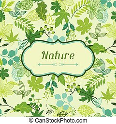 Background of stylized green leaves. - Background of...