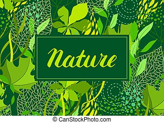Background of stylized green leaves for greeting cards.