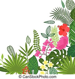 Background of stylized tropical plants, leaves and flowers.
