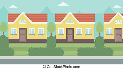 Background of suburban house vector flat design illustration. Horizontal layout.