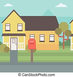 Background of suburban house with mailbox vector flat design illustration. Square layout.