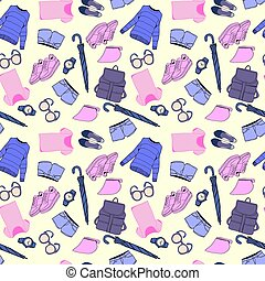 Vector of hand drawn fashion clothes and accessories pattern
