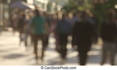 Background of sunny day on city street - Blurred urban...