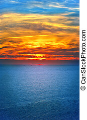 Background of Sunset Sky and Sea beautiful scenery with natural colors Landscape