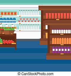 Background of supermarket shelves.