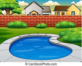 Background of swimming pool in backyard