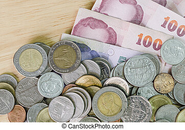 background of Thailand banknotes and coins
