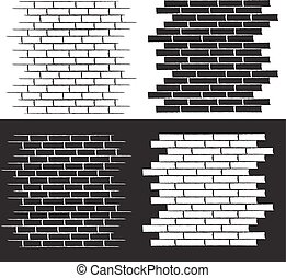 background of the brick wall vector illustration set