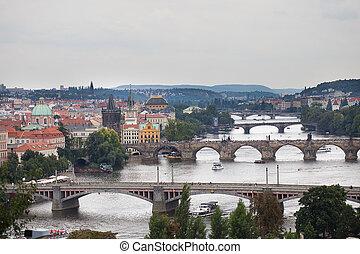 background of the bridges of Prague