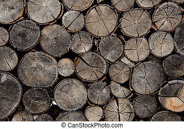 Background of the different shape cracked firewood logs in cut