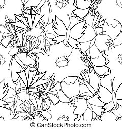 Background of the insects: butterflies, beetles, larvae, seamless pattern. illustration, drawn doodle