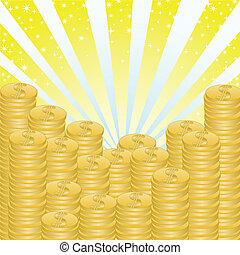 a lot of money stacks on a shimmering radiant background