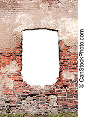 background of the old brick wall with a doorway
