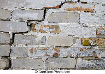 Background of the old cracked brick wall