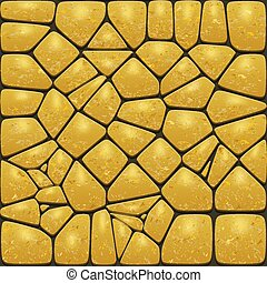 Background of the realistic gold stones. Cobblestone wall or...