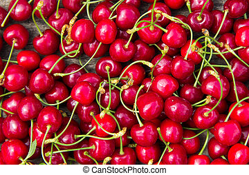 Background of the red cherry fruits