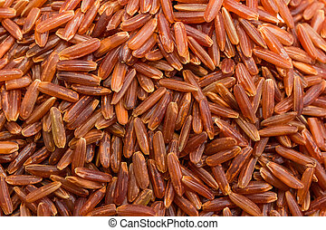 Background of the red rice close-up