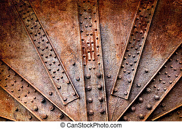 Background of the rivets and screw on rusty metals