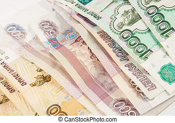 Background of thousandths Russian banknotes