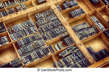 typographical letters in box