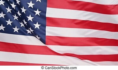 Background of US American flag waving in the wind - Close up...