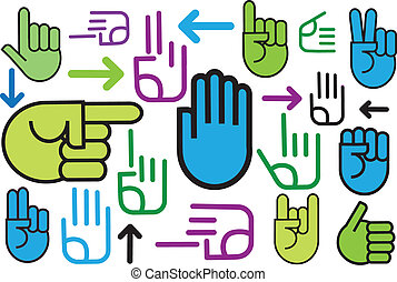 Background of various hand signs