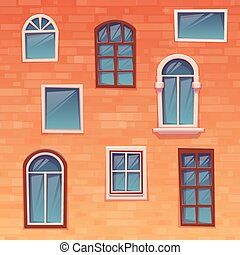 Background of wall with windows. Vector illustration.