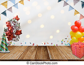 Background of Wood table top on colorful bokeh at night for New Year 2018 and Merry Christmas Celebration