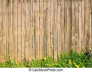 Background of wooden slats with green grass.