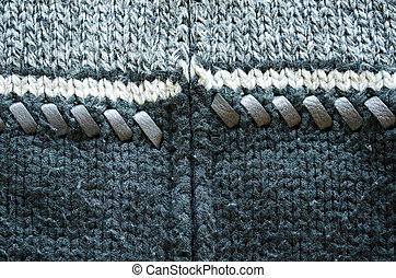 Background of wool knit sweater leather stitch