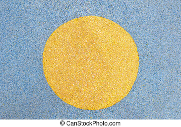 Background of yellow circle surround with blue colored stones