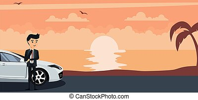 Background of young businessman in his car on a sunset at the beach