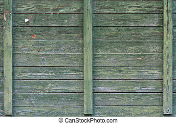 Background old green wooden wall. close-up