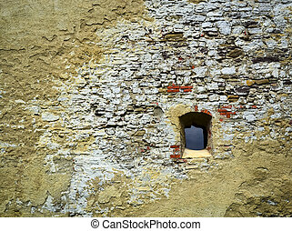 historic castle wall with window