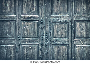 wooden gate toned gray