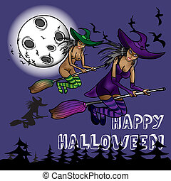 Background on a holiday theme halloween with three witches again