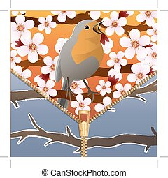 Background on a theme of seasons change. Spring and winter. Bird on a flowering tree branch. Zipper. Vector Image.