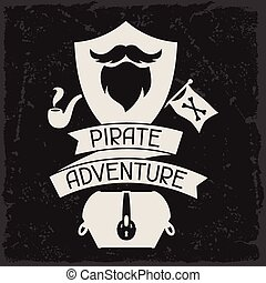 Background on pirate theme with objects and elements