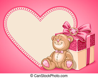 Background on Valentines Day - Cute background with Teddy...