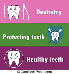 Background or banner, teeth, dental instruments, dental care