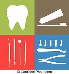 Background or banner, teeth, dental instruments, dental care.