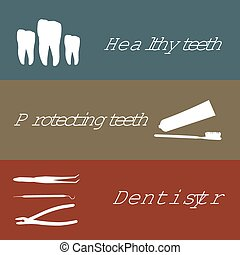 Background or banner, teeth, dental instruments, dental care.