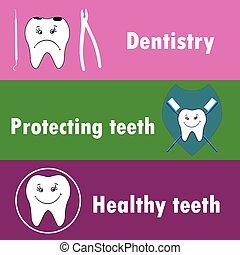 Background or banner, teeth, dental instruments, dental care