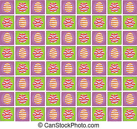 Easter pattern with eggs and flowers pictograms