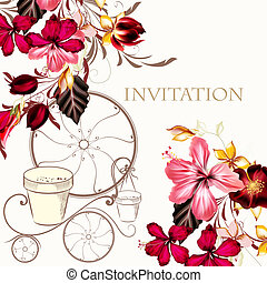 Background or illustration with hibiscus flowers in retro style