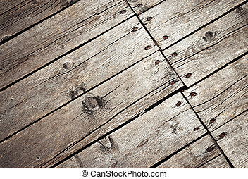 Detail of old wooden board floor