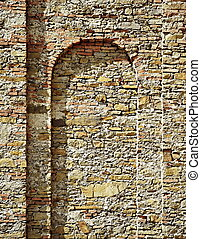 stone castle wall with arch