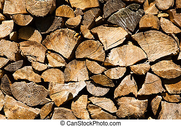 Background or texture symmetric with pieces of wood for stove fireplace .