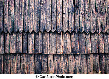 wall of old wooden shingles