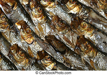 smoked fish - Background or texture with smoked fish